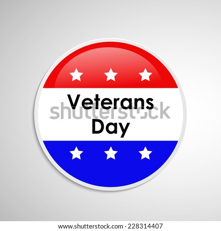 Illustration of U.S.A Flag Button or badge for Veterans Day