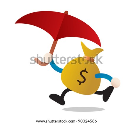 illustration of umbrella and money