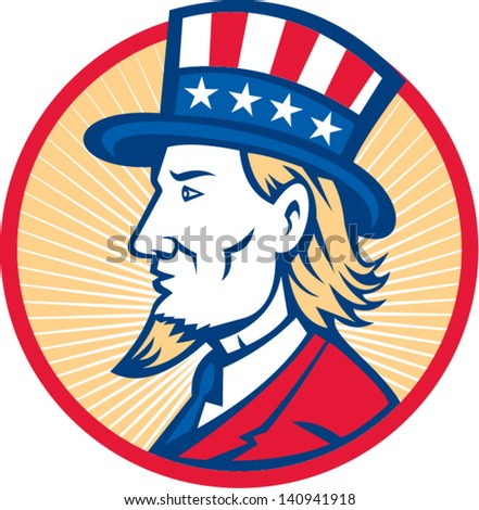 Illustration of Uncle Sam wearing hat with stars and stripes American flag viewed from side set inside circle.