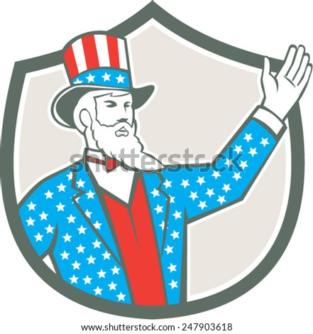Illustration of Uncle Sam with hand up with stars and stripes American flag design on his hat and clothes set inside shield crest on isolated background done in retro style.  - stock vector