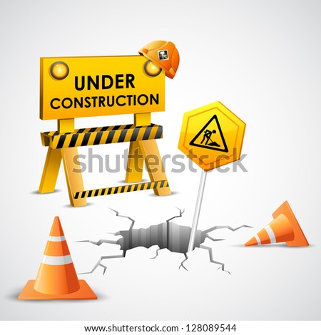 illustration of under construction background with stopper and post - stock vector