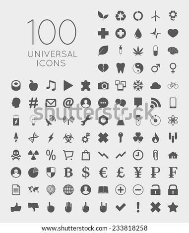 Illustration of 100 universal icons of business, science, health, security, education, technology, leisure time and food - stock vector