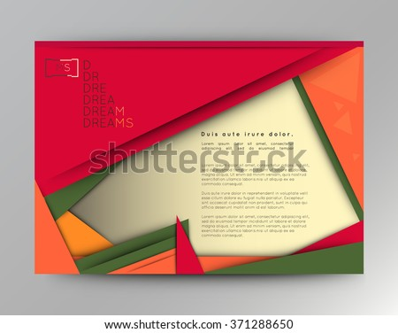 Illustration of unusual modern material design background. Modern template, abstract geometric composition in red, orange and green colors. Abstract Illustration. - stock vector