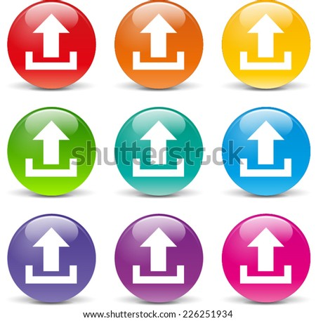 Illustration of upload icons various colors set - stock vector