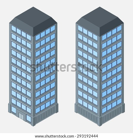 Illustration of urban skyscrapers. - stock vector