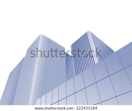 Illustration of urban skyscrapers of office blocks as concept - stock vector