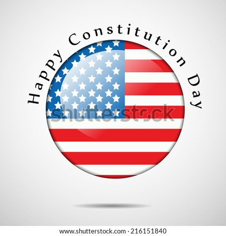 Illustration of USA Flag button for Constitution Day - stock vector