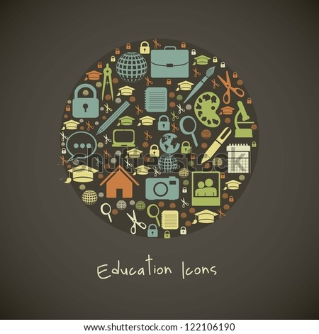Illustration of useful icons and icons of college. vector illustration - stock vector