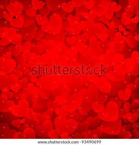 illustration of valentine background with many heart - stock vector