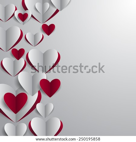Illustration of valentines day card template with paper heart cutouts - stock vector