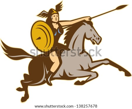 Illustration of valkyrie of Norse mythology female rider warriors riding horse with spear done in retro style.