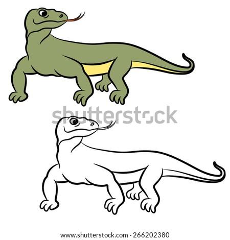Illustration of varan (komodo dragon). Coloring book. - stock vector