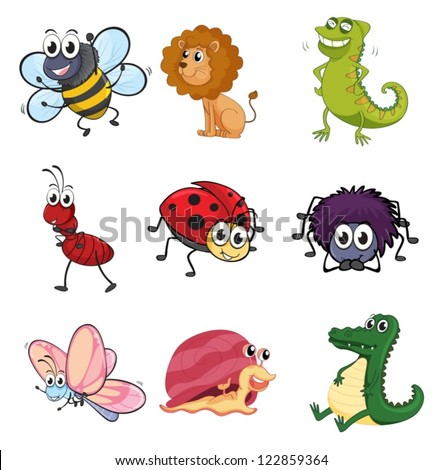 Illustration of various animals and insects on a white background - stock vector