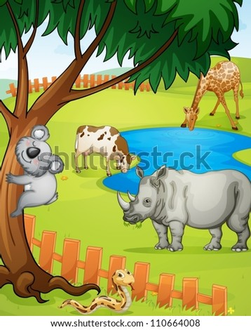 illustration of various animals in nature - stock vector