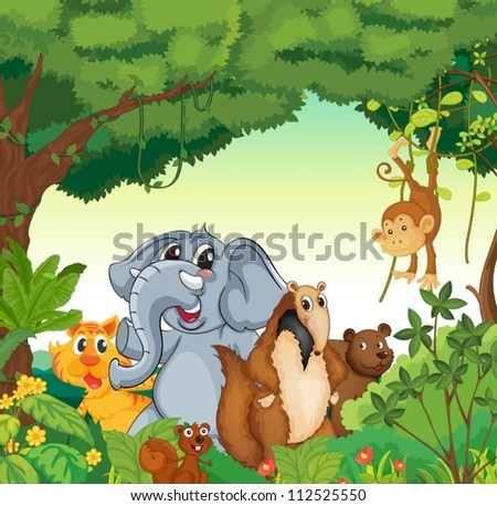 illustration of various animals in the forest - stock vector