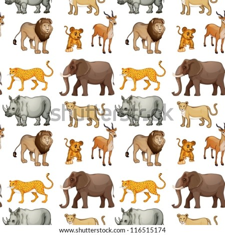 illustration of various animals on a white background - stock vector