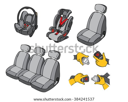 illustration of various car seats