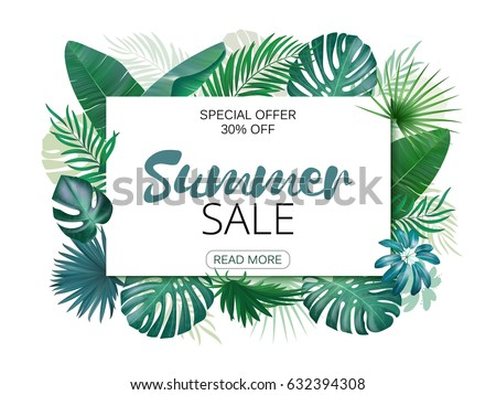 Illustration of various exotic leaves with horizontal banner on white background