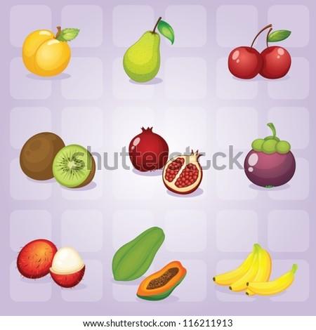 illustration of various fruits on purple background