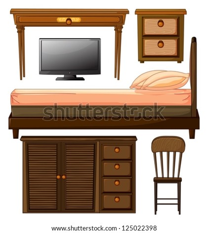 Illustration of various furnitures and lcd television on a white background