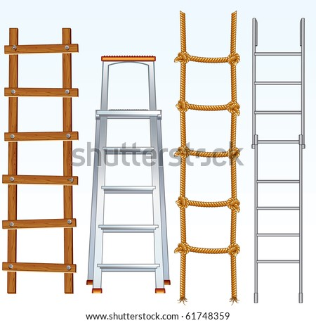 Illustration of various isolated ladders, stepladders - vector set for your design - stock vector