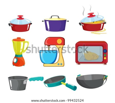 Illustration of various kitchen appliances - stock vector