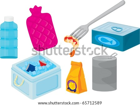 Illustration of Various objects on a white background - stock vector