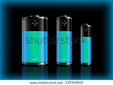 Illustration of various size transparent batteries with colorful charge indicators  - stock vector