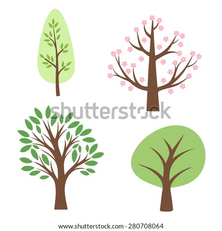 Illustration of various trees on a white background - stock vector