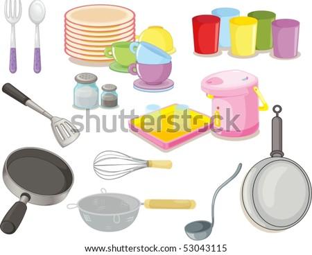 illustration of various utensils on a white background - stock vector