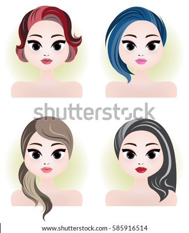 illustration of various young women long & short hair style icon, logo women face.