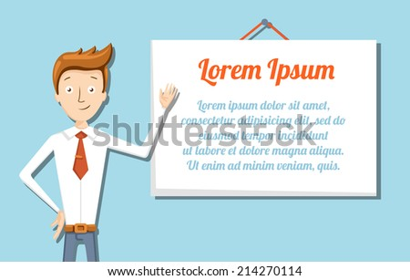 Illustration of vector cartoon manager with flip chart - stock vector