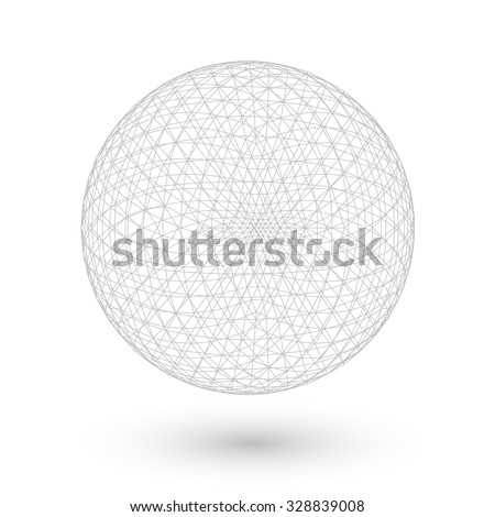 Illustration of Vector Connection Spirograph Wired Ball Isolated on White Background - stock vector