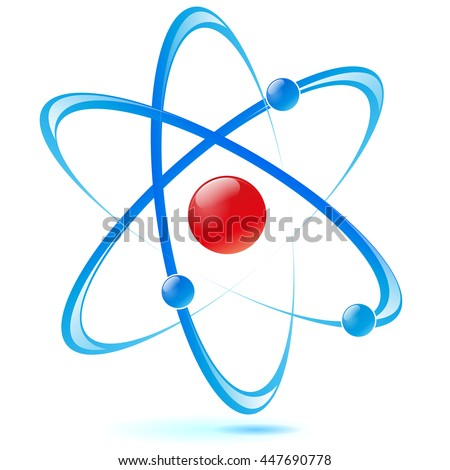 Illustration of vector design atom red and blue