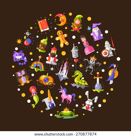 Illustration of vector fairy tales flat design magic icons and elements composition  - stock vector