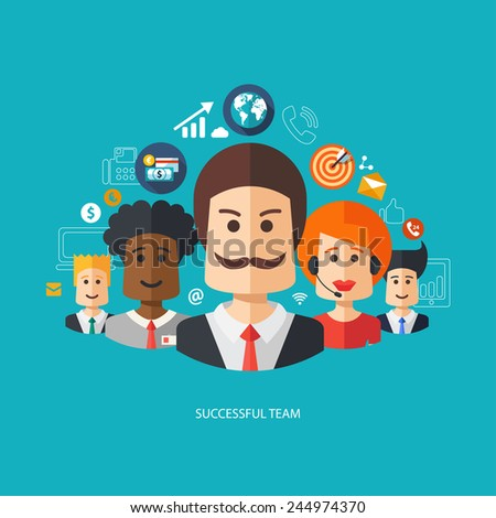 Illustration of vector flat design business composition with successful team - stock vector