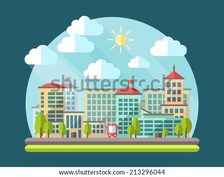 Illustration of vector flat design urban landscape - stock vector