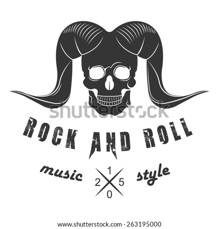 Illustration of vector logo for rock and roll of music festival on a white background. Skull with horns for poster or template of badges. - stock vector