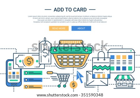 Illustration of vector modern line flat design add to cart composition with shopping infographics elements. Header, banner for your website - stock vector