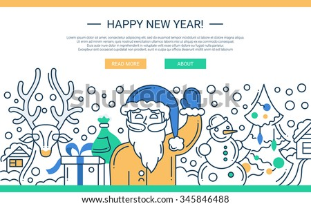 Illustration of vector modern line flat design Christmas composition and infographics elements with  Santa Claus. Header, banner for your site. - stock vector