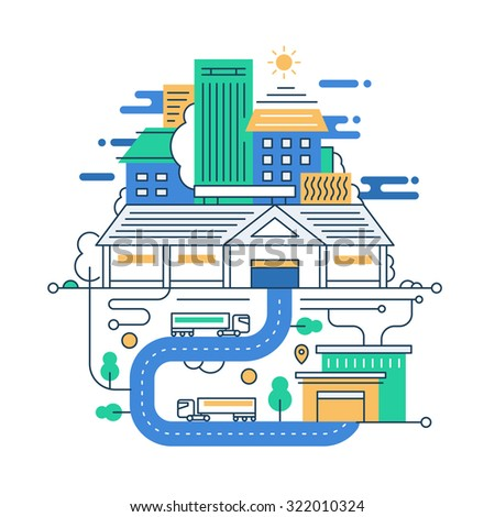 Illustration of vector modern line flat design city composition with city buildings and cityscape infographics elements - stock vector