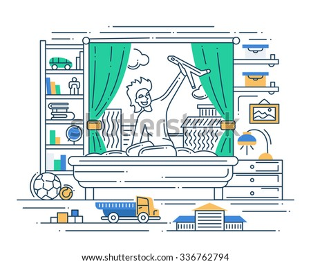 Illustration of vector modern line flat design composition and infographics elements with a boy playing - stock vector