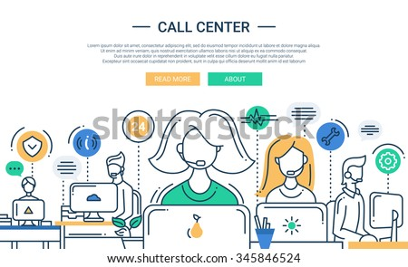 Illustration of vector modern line flat design composition and infographics elements with call center support team and its workplace. Header, banner for your website. - stock vector