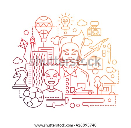Illustration of vector modern line flat design happy father and son composition with common hobbies symbols and infographics elements - gradient color - stock vector