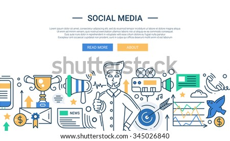 Illustration of vector modern social media promotion line flat design composition and infographics elements with a happy man. Header, banner for your website. - stock vector