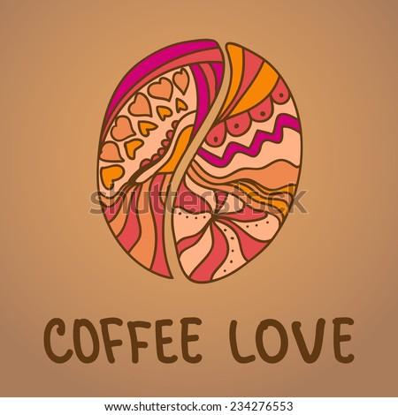 Illustration Vector Ornamental Coffee Bean Stock Vector 234276553 ...