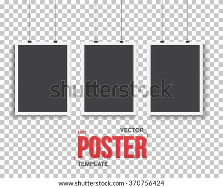 Illustration of Vector Poster Mockup Set. Realistic Vector EPS10 Paper Black Poster Set in White Frame Isolated on Transparent PS Style Background - stock vector