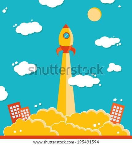 Illustration of vector rocket  - stock vector