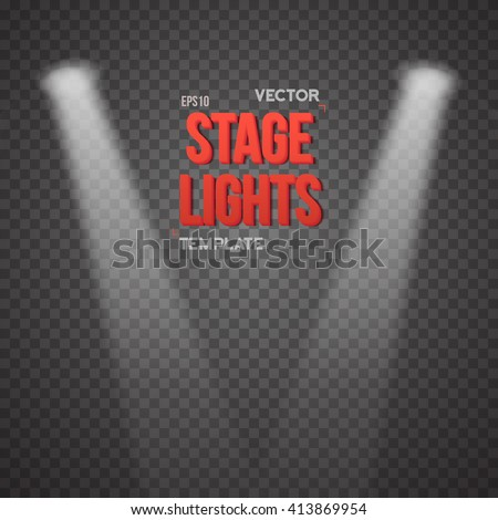 Illustration of Vector Stage Light Effect. EPS10 Bright Stage Light Illuminating Podium. Transparent Studio Stage Light Effect on Transparent Overlay Background - stock vector
