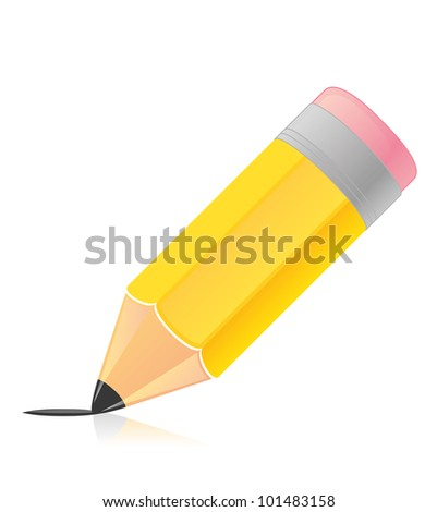 Illustration of vector wood pencil with line - stock vector